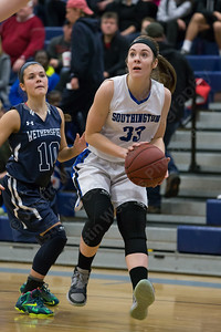 Southington's Janette Wadolowski (33) pulls up for a jumper after beating Wethersfield's Aleah Livingston (10) Saturday at Southington High School in Southington Jan. 16, 2016 | Justin Weekes / For the Record-Journal