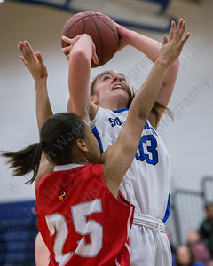 Southington's Janette Wadolowski pulls up for a shot on Greenwich's Jayla Faison Thursday at Southington High School in Southington  Mar. 3, 2016 | Justin Weekes / For the Record-Journal