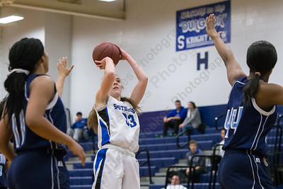 Southington's Janette Wadolowski pulls up for a jumper in the lane Thursday during first round play in the CCC tournament at Southington High School in Southington Feb. 18, 2016 | Justin Weekes / For the Record-Journal