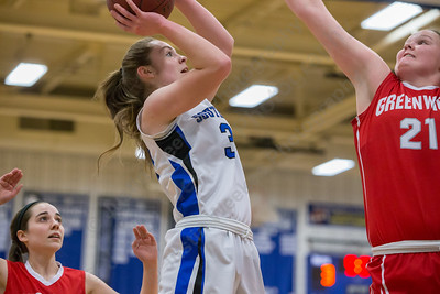 Southington's Janette Wadolowski puts up a shot as Greenwich's Abigail Wolf tries to block Thursday at Southington High School in Southington  Mar. 3, 2016 | Justin Weekes / For the Record-Journal
