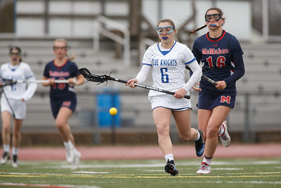 Southington's Natalie Hart Richardson chases a loose ball Thursday at Southington High School in Southington April 19, 2018 | Justin Weekes / Special to the Record-Journal