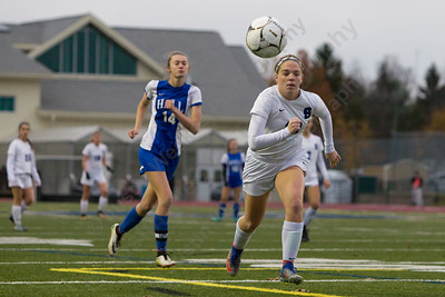 Southington's Natalie Verderame chases a leading pass Tuesday during first round play in the Class LL CIAC tournament at Fontana Field in Southington November 7, 2017   Justin Weekes / For the Record-Journal