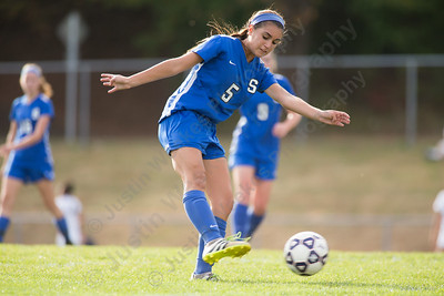 Southington's Alexa Imme  gets a shot off for a goal Friday at Platt High School in Meriden October 6, 2017   Justin Weekes / For the Record-Journal
