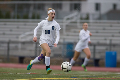 Southington's Melissa Drexler gets in open space Tuesday during first round play in the Class LL CIAC tournament at Fontana Field in Southington November 7, 2017   Justin Weekes / For the Record-Journal