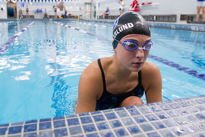 Southington's Meghan Hammarlund gets set for the 200 medley relay start Wednesday at the YMCA in Southington September 27, 2017 | Justin Weekes / For the Record-Journal