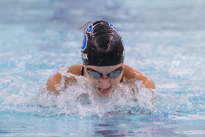 Southington's Julie Duszak swims the breast stroke in the 200 medley relay Wednesday at the YMCA in Southington September 27, 2017 | Justin Weekes / For the Record-Journal
