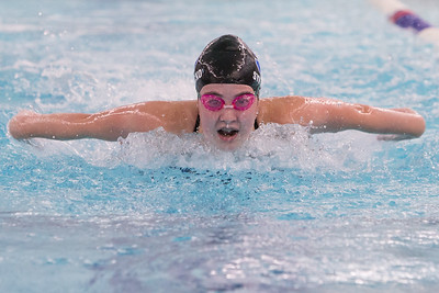 Southington's Madeline Symecko swims the butterfly in the 200 medley relay Wednesday at the YMCA in Southington September 27, 2017 | Justin Weekes / For the Record-Journal