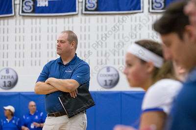 Southington's head coach Rich Heitz watches his lady knights Tuesday at Southington High School in Southington September 26, 2017 | Justin Weekes / For the Record-Journal