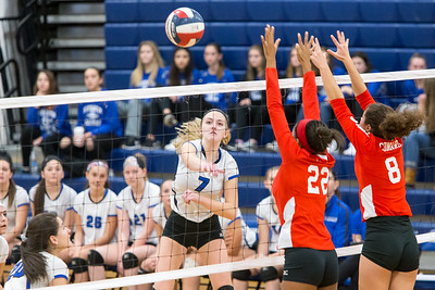 Southington's Haley Larrabee spikes for a kill Saturday during the CIAC Class LL quarterfinals at Southington High School in Southington November 10, 2018 | Justin Weekes / Special to the Record-Journal