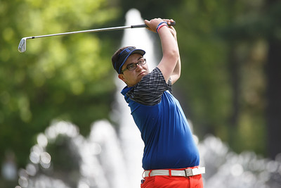 Southington's Shawn McKnerney tees off on the second hole Monday at Hawks Landing Country Club in Southington May 14, 2018 | Justin Weekes / Special to the Record-Journal