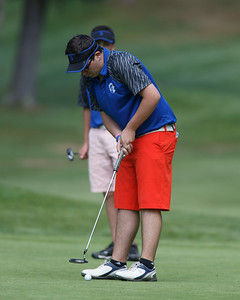 Southington's Shawn McKnerney putts on the first green Monday at Hawks Landing Country Club in Southington May 14, 2018 | Justin Weekes / Special to the Record-Journal