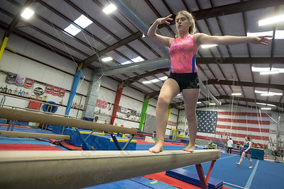 Southington's Mychele Vaillancourt on balance beam Wednesday during practice at American Gymnastic Training Center in Plantsville  January 10, 2018 | Justin Weekes / Special to the Record-Journal