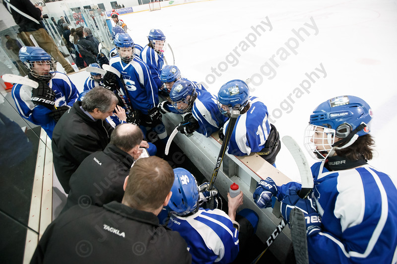 Hall-Southington takes a time out down by one late in the third period Tuesday during first round play in the CIAC D-II tournament at Veterans Memorial Rink in West Hartford  March 6, 2018 | Justin Weekes / Special to the Record-Journal