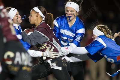 Southington's Brooke Garcia right gets called for holding Wednesday during the 9th Annual Powder Puff football game at Veterans Memorial Stadium in New Britain. Southington defeated New Britain 20 to 0 to make it two wins in a row. November 22, 2017 | Justin Weekes / For the Record-Journal