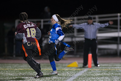Southington's Nicole Carter crosses the goal line for her second touchdown of the game Wednesday during the 9th Annual Powder Puff football game at Veterans Memorial Stadium in New Britain. Southington defeated New Britain 20 to 0 to make it two wins in a row. November 22, 2017 | Justin Weekes / For the Record-Journal