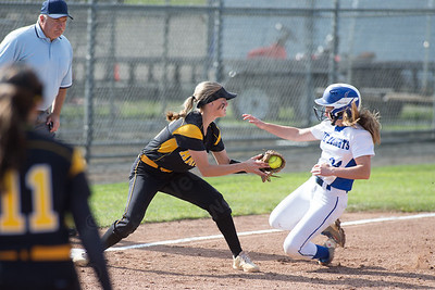 Southington's Kayla Pelletier beats the tag into third Monday during the CIAC Class LL semifinals at West Haven High School in West Haven May 31, 2016 | Justin Weekes / Special to the Record-Journal