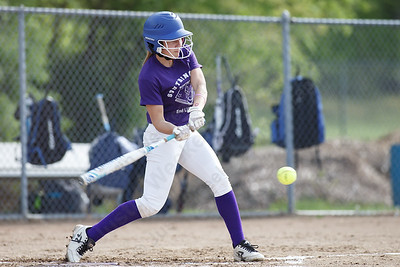 Southington's Chrissy Marotto gets on board with a lead off single Friday at Southington High School in Southington. Proceeds from tickets and silent action were to benefit the Dream Big with Davina Lupus Foundation May 18, 2018 | Justin Weekes / Special to the Record-Journal