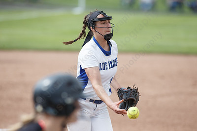 Southington's Kara Zazzaro tosses to first for an out Monday during the CIAC Class LL semifinals at West Haven High School in West Haven May 31, 2016 | Justin Weekes / Special to the Record-Journal