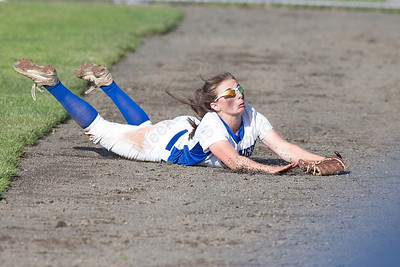Southington's Nicole Greco tries to grab a fly ball in foul territory Monday during the CIAC Class LL semifinals at West Haven High School in West Haven May 31, 2016 | Justin Weekes / Special to the Record-Journal