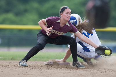 Southington's Kayla Pelletier gets caught at second from South Windsor's Taylor Darby Friday during the CIAC Class LL quarterfinal round at Southington High School in Southington June 1, 2018 | Justin Weekes / Special to the Record-Journal