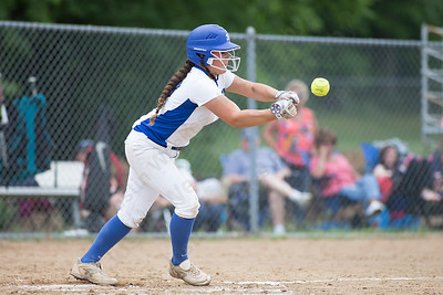 Southington's Madison Rocha gets a bunt in play Friday during the CIAC Class LL quarterfinal round at Southington High School in Southington June 1, 2018 | Justin Weekes / Special to the Record-Journal