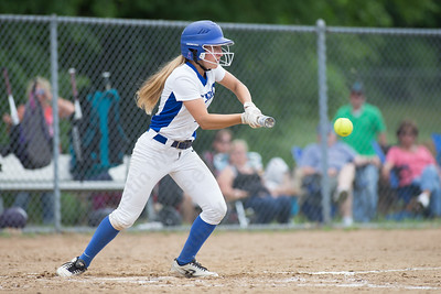 Southington's Chrissy Marotto gets on board with a bunt Friday during the CIAC Class LL quarterfinal round at Southington High School in Southington June 1, 2018 | Justin Weekes / Special to the Record-Journal