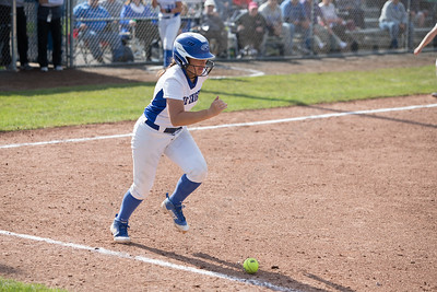 Southington's Francesca Ferrante gets a bunt in play for a single Monday during the CIAC Class LL semifinals at West Haven High School in West Haven May 31, 2016 | Justin Weekes / Special to the Record-Journal