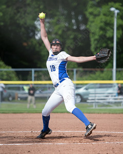 Southington's Kara Zazzaro delivers a pitch Monday during the CIAC Class LL semifinals at West Haven High School in West Haven May 31, 2016 | Justin Weekes / Special to the Record-Journal
