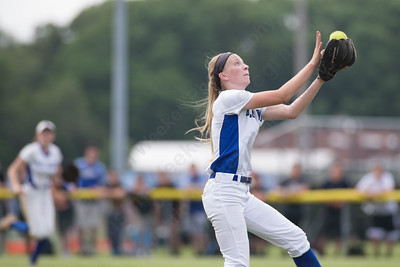 Southington's Kristin Rose brings in a pop fly to end the inning Friday during the CIAC Class LL quarterfinal round at Southington High School in Southington June 1, 2018 | Justin Weekes / Special to the Record-Journal