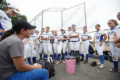 Southington's head coach Davina Hernandez talks with players before facing South Windsor Friday during the CIAC Class LL quarterfinal round at Southington High School in Southington June 1, 2018 | Justin Weekes / Special to the Record-Journal