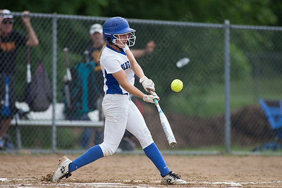Southington's Chrissy Marotto connects Friday during the CIAC Class LL quarterfinal round at Southington High School in Southington June 1, 2018 | Justin Weekes / Special to the Record-Journal