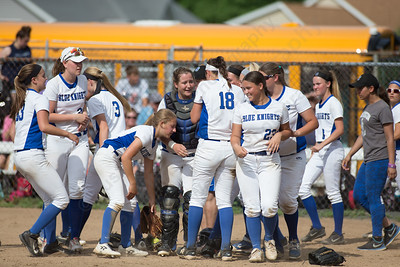 Southington celebrates after defeating South Windsor 1 to 0 Friday during the CIAC Class LL quarterfinal round at Southington High School in Southington June 1, 2018 | Justin Weekes / Special to the Record-Journal