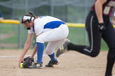 Southington's Kara Zazzaro fields a bunt Friday during the CIAC Class LL quarterfinal round at Southington High School in Southington June 1, 2018 | Justin Weekes / Special to the Record-Journal