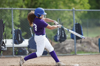 Southington's Madison Rocha cranks a shot to left adding an RBI Friday at Southington High School in Southington. Proceeds from tickets and silent action were to benefit the Dream Big with Davina Lupus Foundation May 18, 2018 | Justin Weekes / Special to the Record-Journal