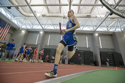 Southington's Shane Leone in the 4x800 Saturday during the CCC indoor Track and Field Championships  at the Floyd Little Athletic Center in New Haven January 27, 2018 | Justin Weekes / Special to the Record-Journal