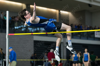 Southington's Jeffrey Hannigan makes an attempt at high jump Saturday during the CCC indoor Track and Field Championships  at the Floyd Little Athletic Center in New Haven January 27, 2018 | Justin Weekes / Special to the Record-Journal