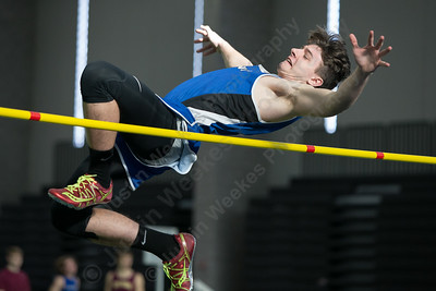 Southington's Jake Beaupre makes an attempt at high jump Saturday during the CCC indoor Track and Field Championships  at the Floyd Little Athletic Center in New Haven January 27, 2018 | Justin Weekes / Special to the Record-Journal