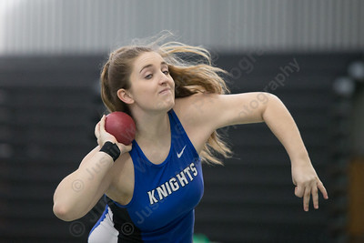 Southington's Amanda Howe makes a throw in shot put Saturday during the CCC indoor Track and Field Championships  at the Floyd Little Athletic Center in New Haven January 27, 2018 | Justin Weekes / Special to the Record-Journal