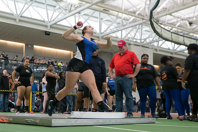 Southington's Trinity Cardillo makes a throw in shot put Saturday during the CCC indoor Track and Field Championships  at the Floyd Little Athletic Center in New Haven January 27, 2018 | Justin Weekes / Special to the Record-Journal