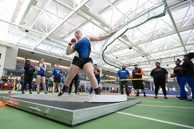Southington's Julia Groll take a practice turn at shot put Saturday during the CCC indoor Track and Field Championships  at the Floyd Little Athletic Center in New Haven January 27, 2018 | Justin Weekes / Special to the Record-Journal