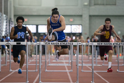Southington's Elijah Rodriguez in the 55m hurdles Saturday during the CCC indoor Track and Field Championships  at the Floyd Little Athletic Center in New Haven January 27, 2018   Justin Weekes / Special to the Record-Journal