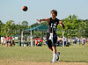 Carroll quarterback Daxx Garman throws a pass during the Colleyville Heritage 7 on 7 qualifying tournament last Saturday at Oak Grove Park.