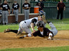Ethan Cunningham tags Pat Bonenberger out for the final out in the top of the 7th inning.