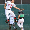 Colleyville infielder Kyle Kubitza tags Carroll's Vincent Winter out as he runs to first base.