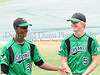 Carroll outfielder Ronnie Mitchell and starting pitcher Ethan Cunningham joke around prior to the State Championship game at Dell Diamond field, Round Rock, June 7. 2008.