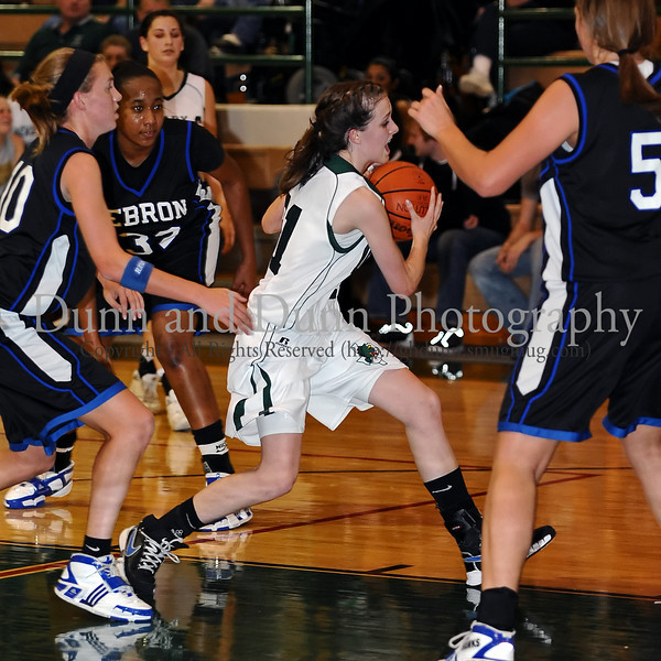 Carroll sophomore guard Monica take the ball to the basket in the game Friday night against Hebron.