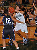 Carroll junior post Deborah Chandler receives the ball in the lane in the game Friday night against Hebron.
