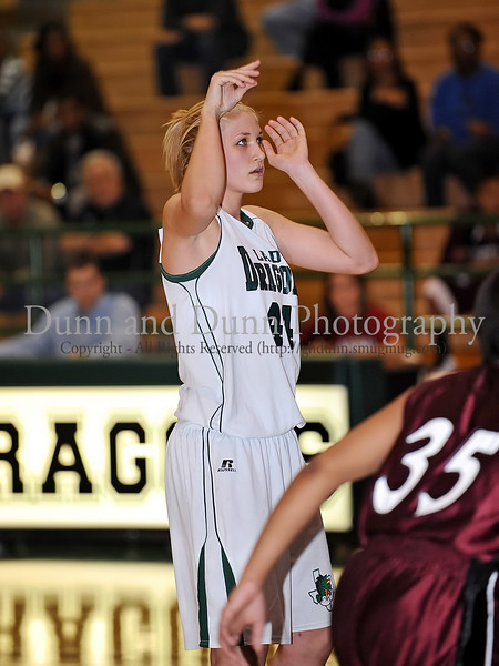 Carroll junior post Christie Groh following completing a foul shot in the game against Lewisville last Friday night at Carroll Senior High School.