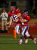 Seniors Logan Mullins and Ryan Alvarado celebrate Mullins' touchdown late in the 4th quarter in the game against Marcus.  The score put Grapevine ahead 20 to 7 in the game on September 7, 2007.