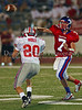 Senior QB Matt Harbin throws a touchdown pass to Logan Mullins late in the 4th quarter in the game against Marcus.  Defending on the play is junior Jameson Holt.  The score put Grapevine ahead 20 to 7 in the game on September 7, 2007.